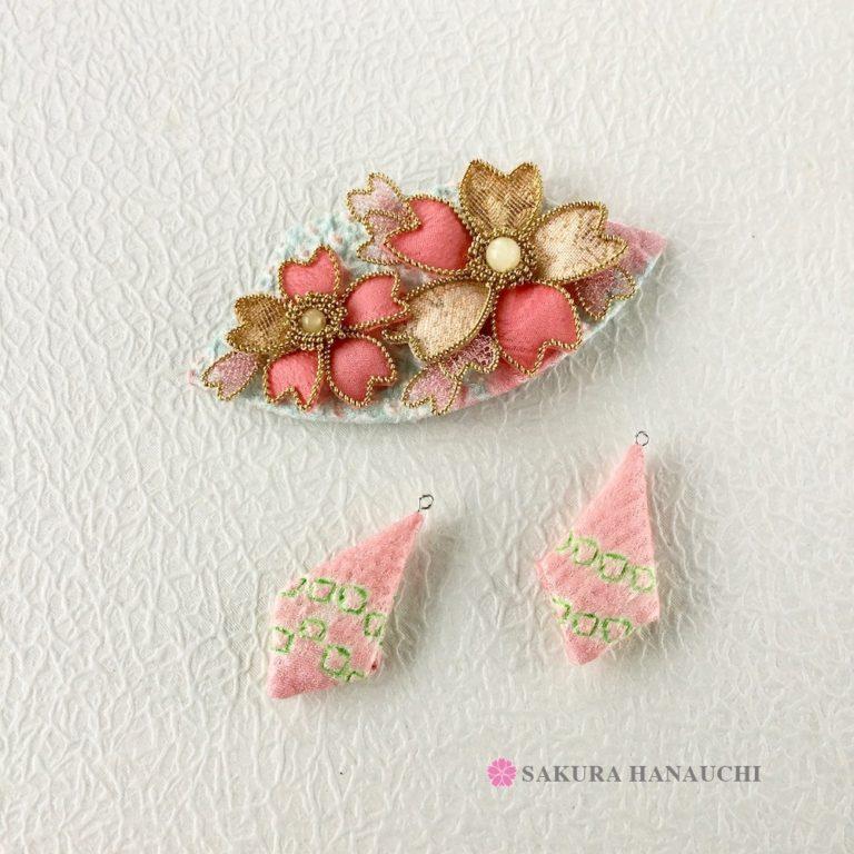 桜の髪飾りとイヤリング
